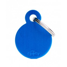 Placa Identificativa Personalizada Círculo Aluminio Azul
