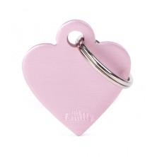 Placa Identificativa Personalizada Corazón Aluminio Rosa